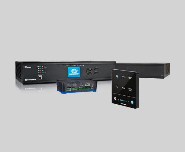 Image of a variety of Crestron processors for control system programming.